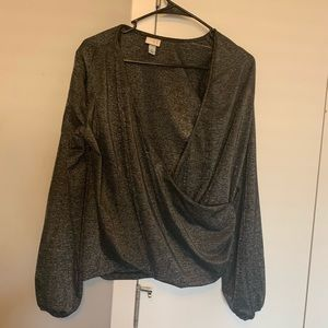 Dressy silver top. Size S